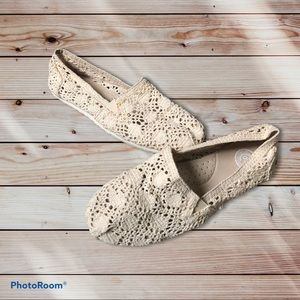 SO Cream Knit Lace Flat Slip-Ons